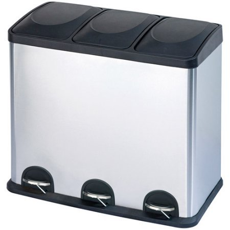 Step N' Sort 12-Gallon 3-Compartment Stainless Steel Trash and Recycling Bin