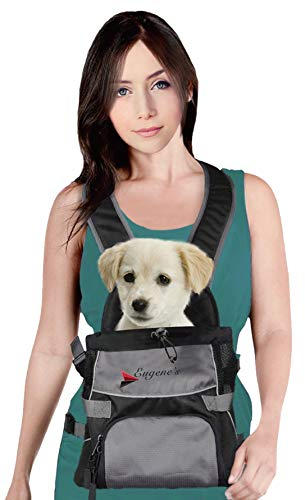 Front Dog Cat Pet Carrier, Dog Backpack Bag by Eugene's. Free Your Hands. Use as: Dog Carrier, Cat Carrier, Carrier For Small pets. New Generation of Dog Carriers. for your pets up to 15 lbs.