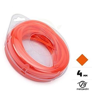 Hilo desbrozadora de nailon 4 mm x 9 m. Cuadrado. rojo y naranja ...