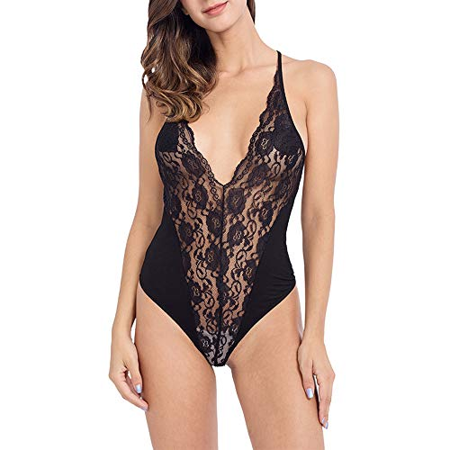 MANCYFIT Bodysuit for Women Sexy Deep V Neck Halter Sleeveless Tank Top Low Cut Leotard Rose Lace Black X-Small