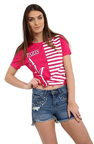 Momo&Ayat Fashions Ladies Striped Amour Paris Slogan Printed T Shirt UK Size 8-14 (Fuchsia, M/L (UK - Versache Store