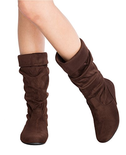 Sexy Halloween Boots (OLIVIA K Womens Low Heel Mid-Calf Slouchy Fold Over Suede Slip On Casual Boots)