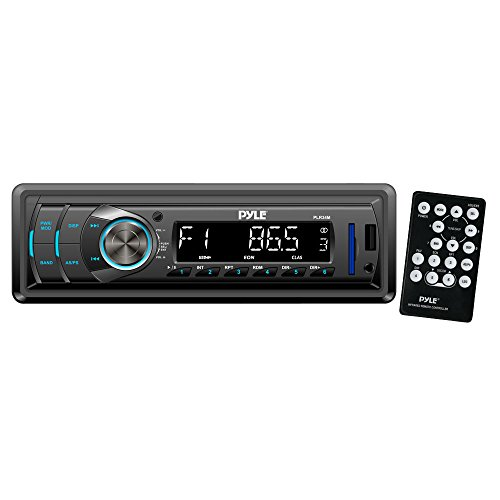 Car Stereo Head Unit Receiver - Premium In Dash AM/FM-MPX Tuning Media Radio with MP3 Playback, LCD Display & Preset Station Memory - USB, SD & Aux Inputs - Remote Control Included - Pyle PLR34M (Rack Audio Legacy)