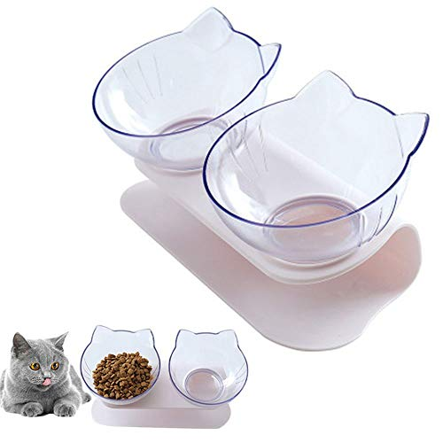 15°Tilted Platform Double Bowl Cat Feeder,Raised Cat Food and Water Bowls with Stand No Spill,Reduce Pets Neck Pain for Cats and Small Dogs ... (Double-Bowls)