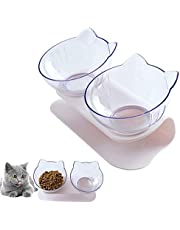 Double Cat Bowl with Raised Stand,15°Tilted Platform Cat Feeders Food and Water Bowls,Reduce Neck Pain for Cats and Small Dogs