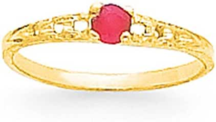 14k Yellow Gold Polished Round 3mm Ruby July Birth Month Stone Baby Ring Size 3 by Madi K