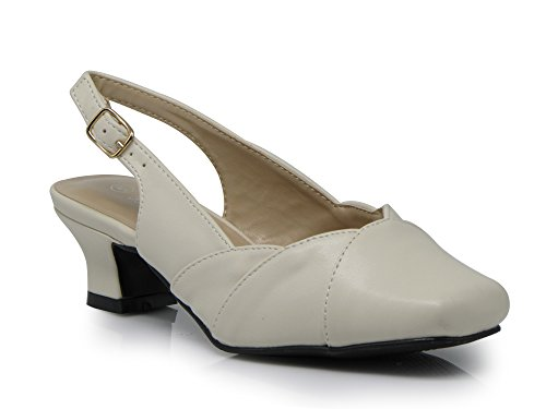 Enzo Romeo ATC01 Women's Wide Width Sling Back Low Heeled Pointy Pumps Sandals Shoes (10 Wide US, Beige)