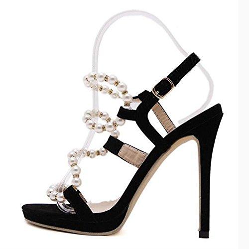 L@YC TalóN De Las Mujeres De TacóN Alto DecoracióN De Bellas Temperamento 13cm Sandalias De Vestido De Danza Black