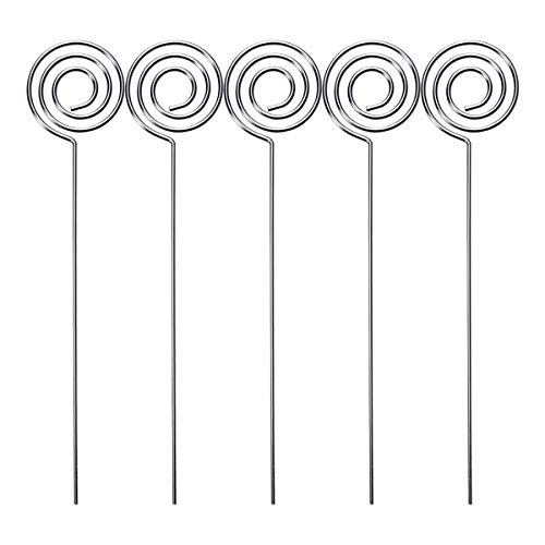 - BESTONZON 50pcs Wedding Table Place Number Card Holders Stands Photo Menu Holder Clips - 1.2x200mm (Silver)