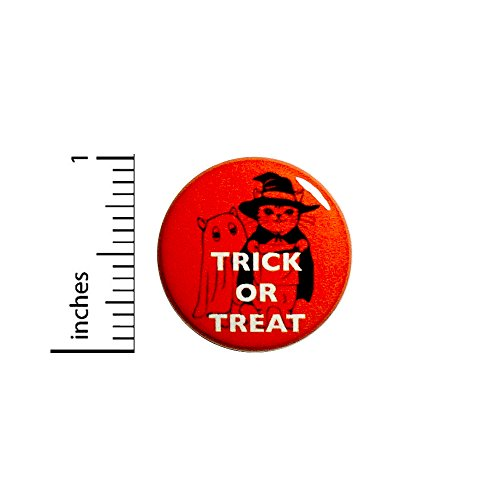Cute Halloween Cats Button Trick Or Treat Party Favor Pin 1