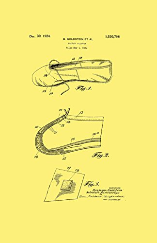 Framable Patent Art the Original Ready to Frame Décor Ballet Slipper Dance Shoe Footwear 24in by 36in Patent Art Poster Print Vintage PAPMSP50VC, Cream