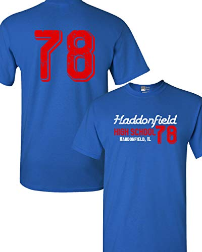 Beach Open Haddonfield High School 78 Halloween Costume Front & Back DT Adult T-Shirt Tee (Large, Royal Blue)