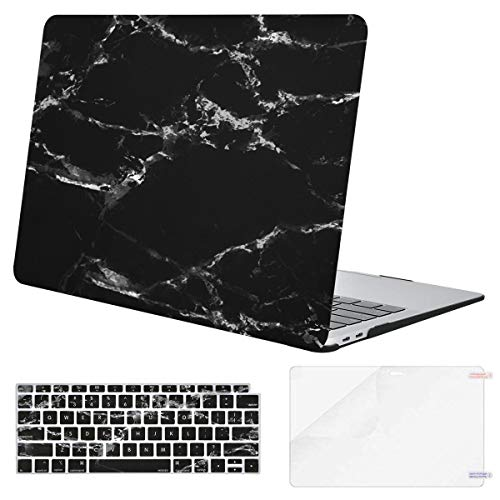 MOSISO MacBook Air 13 Inch Case 2018 Release A1932 with Retina Display, Plastic Pattern Hard Shell & Keyboard Cover & Screen Protector Only Compatible Newest MacBook Air 13, Black Marble