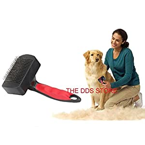 THE DDS STORE Dog's and Cat's Slicker Brush Grooming Comb Tool with Self-Cleaning Retractable Pins for Short and Long Hair Pets