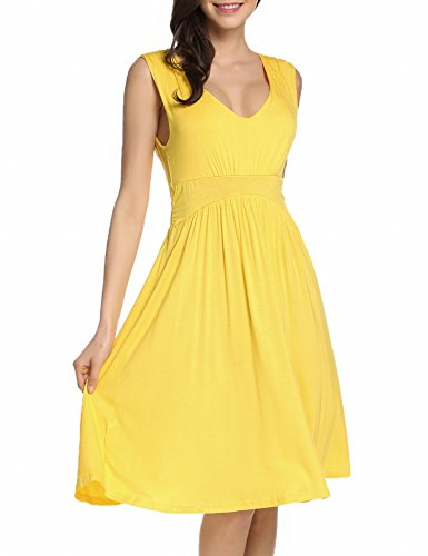 Cocktail Beyove Vintage Party F Dress Halter Cross Bandage Women's yellow wAIfxARCq