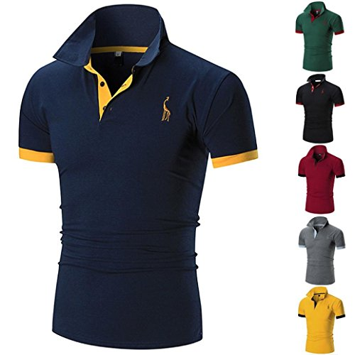 60f2b43ea Summer Men Short Sleeve ☀Kstare Men's Classic Solid Soft Stretch Short  Sleeves Polo T-