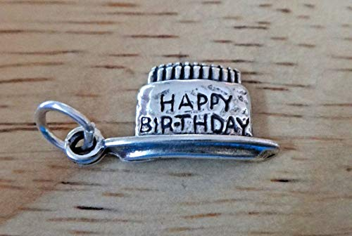 - Fine Charms Sterling Silver 20x10mm says Happy Birthday on Cake with Candles