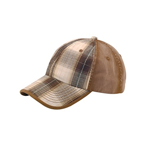 Cap Plaid Ball (MG Unisex Low Profile Washed Plaid Cotton Twill Cap-6880-BROWN)