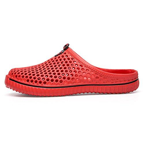 (Men Women Unisex Classic Casual Shoes Couple Beach Hole Sandal Pure Color Flip Flops Breathable Sneakers By BOLUBILUY)