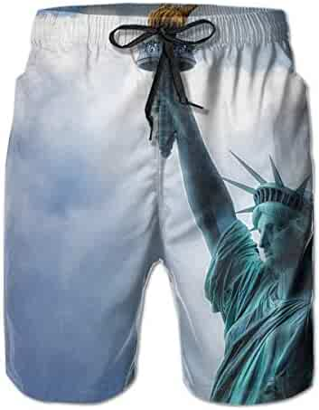 6f3bd7a709 Quick Dry Beach Shorts Statue of Liberty Swim Trunks Surf Board Pants with  Pockets for Men