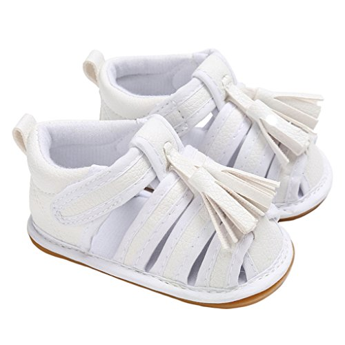 Baby Girls Strappy Braided Tassel Gladiator Sandals Closed-Toe Beach Flat Shoes White Size 13