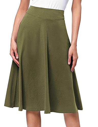 Women's Solid Lightweight Flare Midi Pull On Skirt S-XXXL Plus Size(3XL,Olive)