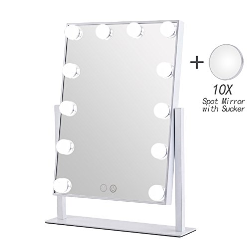Geek-House Lighted Vanity Mirror Hollywood Style Makeup Tabletops, Large Cosmetic Mirror with 12 x 3W Super Bright Dimmable Touch Control LED Bulbs, - Tabletop Mirror Vanity
