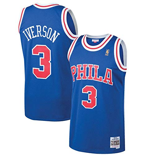 Mitchell & Ness Philadelphia 76ers Allen Iverson 3# 1996-97 Hardwood Classics Swingman Royal Blue Jersey