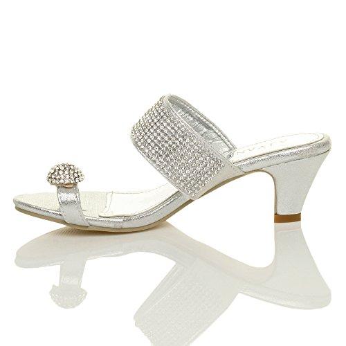 Tilly Shoes Plataforma Mediados De Tacón Bajo Peeptoe Toe Post Fiesta Diamante sandalias Mule Zapatillas Tamaño Plateado - plata