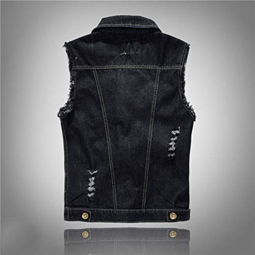 Mezclilla Tamaño de Hombres Casual Gran Abotonada de Sin Chaqueta Chaqueta Mangas Chaleco Negro Jeans Kairuun de wIA00x