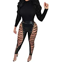 a3739369502 Imily Bela Womens Synthetic Leather Mid Waist Punk Pants Sexy Skinny Lace  up Leggings