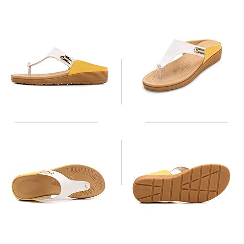 Portez Respirant Femmes Pincer Drag Été Chaussures Chaussons Yellow Fond Plage À D'un Bout Léger Mode le Épais Poids L'extérieur Aux Simple Pfmy dg Ouvert Mot Plates FZxBqWU0zw