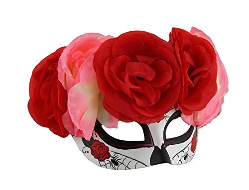 Spider Web DOD Sugar Skull Mask w/Pink and Red Floral Headdress