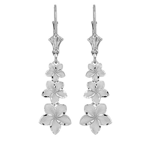 (Elegant 14k White Gold Hawaiian Plumeria Flower Leverback Earrings)