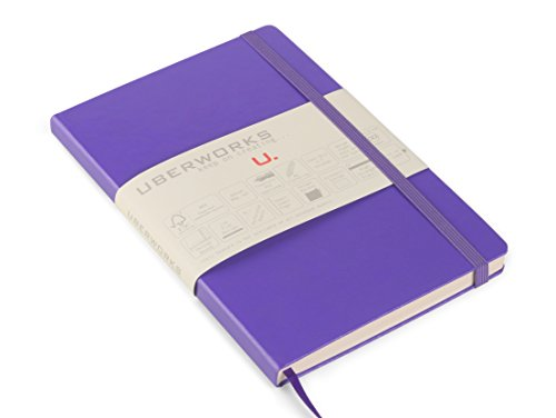 Premium Classic Hardcover UberWorks Tehnik Purple/Lavender Plain/Clear Notebook Bullet Journal Sketchbook Medium A5 Blank 80gsm/gr Paper w/ Elastic Closure, Pocket, Index, Labels&Slipcase Gift - Table Executive Ready Index