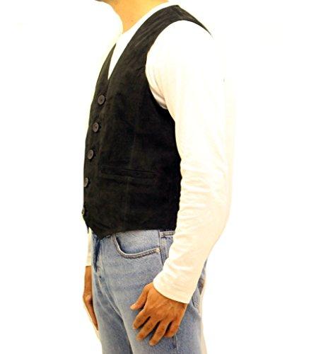 Cinq Gilet Pour Suède En Noir Avec Homme Boutons Classique Velours Cuir qnPwTqU8