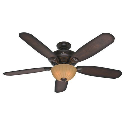 Hunter 53255 Markley 56-Inch Onyx Bengal Ceiling Fan with Five Burnished Cherry Blades and a Light Kit