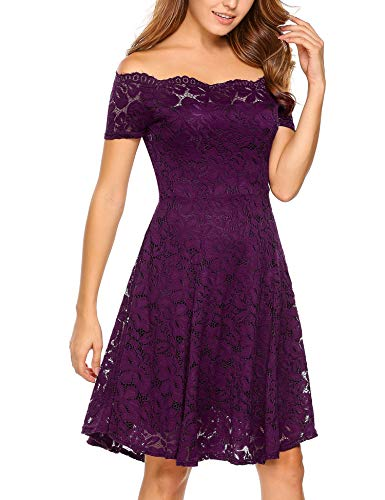 Vintage Formal Swing Sleeve Purple Women Off Floral Cocktail Short Lace ACEVOG Shoulder Dress Uq15wO5