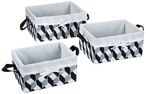 Honey-Can-Do STO-06681 Twisted Tote Set of 3, Black, Gray, White