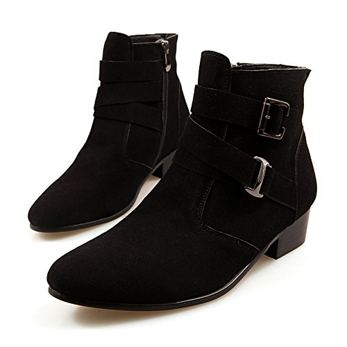Black Suede Buckle Boots (ANDITTRO Men's Pointed Zipper Hasp Suede Leather Chelsea Boots(43,Black))
