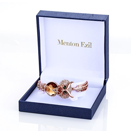Menton Ezil Lucky Owl Bracelets With Turquoise Jewelry Charms Antique Golden Rhinestone Crystal for Womens Girls Gifts by Menton Ezil (Image #5)