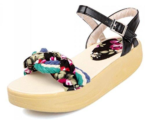 SHFANG Señoras Sandalias Verano Espeso Fondo Florales Estudiantes Ocio Vacaciones Playa zapatos Jugar Tres Colores 4cm Black