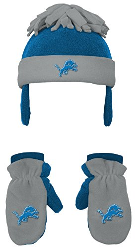 Outerstuff NFL Toddler 2 Piece Winter Set Fleece Hat and Mittens -Lion Blue-1 Size, Detroit Lions (Lions Toddler Fleece)