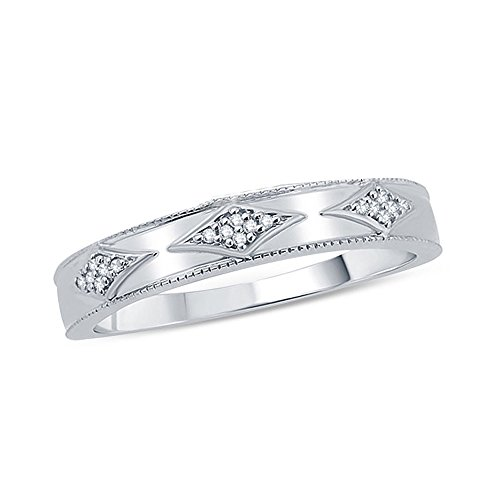 Silvernshine Jewels 14K White Gold Fn 0.1 Ct Sim. Diamond Accent Kite-Shaped Ladie's Wedding Band (0.1 Ct Band Wedding)