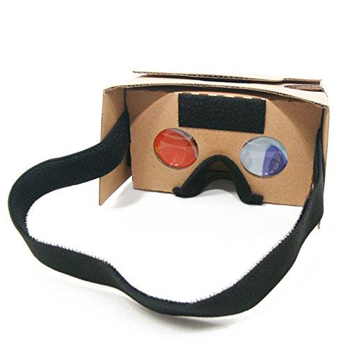 VR-Brille - Inspired by Google Cardboard 2.0 - Virtual Reality Brille V2 mit Kopfband, Stirn- und Nasenpad für Android oder iPhone Smartphone mit Display bis 6.0 Zoll