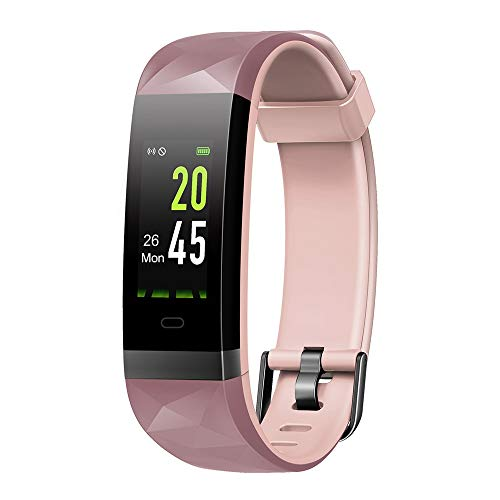 moreFit Fitness Tracker Color Screen HR, Heart Rate Monitor Watch, IP68 Waterproof Activity Tracker with Step Counter Sleep Monitor, 14 Sport Modes, Smart Pedometer Watch for Men Women Kids, Pink ()