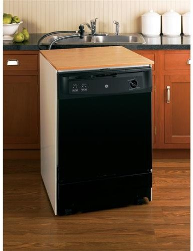 GE GSC3500DBB 24'' Black Portable Full Console Dishwasher - Energy Star by GE