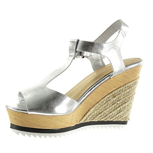 Argent toe Salomés Mode Sandale Compensé Espadrille Angkorly Brillant 11 Chaussure Plateforme Cm Femme Talon Peep Corde Bois xUqa40wp0