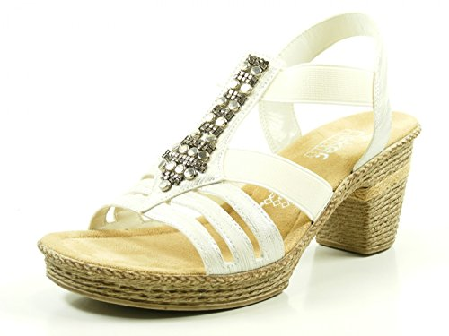Heels Silber 69031 Sandals Women's Rieker 6qzwFF