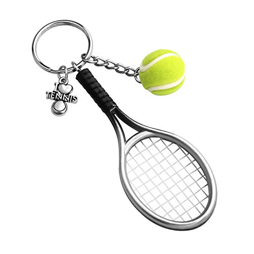 CHOORO Tennis Player Gifts 3D Mini Tennis Racket and Tennis Ball Keychain Set Tennis Gift for Tennis Lovers/Tennis Team/Tennis Coach (Tennis Ball Racket Keychain)